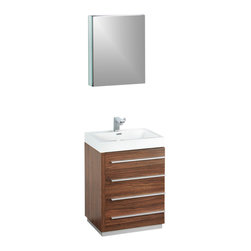 """Fresca - Livello 24"""" Walnut Vanity w/ Medicine Cabinet Savio Brushed Nickel Faucet - The Livello 24"""" vanity features four pull out drawers that come equipped with slow closing hinges.  Its sink is made with a durable acrylic material that is less likely to break then tradition ceramic, it also cleans better.  This vanity's minimal design will make your bathroom feel like a modern oasis.  Many faucet styles to choose from."""