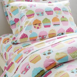 Garnet Hill - Garnet Hill Kids' Sweet Dreams Cupcake Flannel Bedding - Standard - Pillowcases - These supersoft cotton flannel sheets sweeten the deal with stacks of decked-out cupcakes. Let's admit it, sometimes bedtime isn't so fun - but it can be. Fitted sheet is fully elasticized for a better fit. Bedding sold as a set. Twin set includes 1 flat sheet, 1 fitted sheet and 1 standard case. Double and Queen sets include 1 flat sheet, 1 fitted sheet and 2 standard cases. Additional cases may be purchased separately.