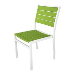 "Polywood - ""Polywood Euro All-Weather Chair, White with Lime Green Slats"" - ""Polywood Euro All-Weather Chair, White with Lime Green Slats Bring style and performance to any outdoor setting with the sophisticated look of our new Euro Collection. Designed to beautifully handle All-Weather environments, the Euro Collection matches finely crafted aluminum frames with durable Poly-Wood slats in an exciting variety of fashion colors. The result? A truly performance driven collection. The advantages of Poly-Wood Recycled Plastic are hard to ignore. Poly-Wood absorbs no moisture and will NOT rot, warp, crack, splinter, or support bacterial growth. Poly-Wood is also compounded with permanent UV-stabilized colors, which eliminates the need for painting, staining, waterproofing, stripping, and resurfacing. This material is impervious to many substances, including salt water, gasoline, paint, stains, and mineral spirits. In addition, every Poly-Wood product comes with stainless steel hardware. Most Poly-Wood furnishings are available in a variety of classic colors, which allow you to choose your favorite or coordinate with the furniture you already have. This is sure to be a piece that you will be proud to own for a lifetime. For advanced cleaning or to remove fungi, use a solution of 1/3 bleach and 2/3 water. Fungi can also be removed using any readily available anti fungal product. A high pressure power washer may be used for regular maintenance to keep your furniture looking like new. Pressure should not exceed 1,500 psi, which is the equivalent of a car wash. The surface characteristics of the product may require the use of a soft bristle brush to get into the creases. Product Measures: 21.75 by 18.75 by 33.5 IN"""