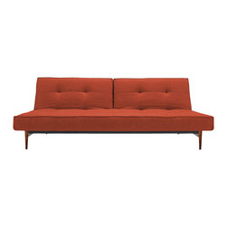 """Innovation USA - """"Innovation USA"""" Splitback Mixed Dance Upholstery Sofa Bed with Wood Legs - Modern style coupled with modern engineering in this """"Innovation USA"""" Splitback Mixed Dance Burned Orange Sofa Bed with Wood Legs. Strengthen with a patented Icomfort pocket spring mattress and walnut legs, it is designed by Per Weiss. The back rest mechanism allows the piece to function as a sofa, bed or stylish chaise with half the unit up and the other half flat. The image shown may be slightly different from the original.    Features:"""