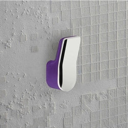 Gedy - Lilac and Chrome Wall Mounted Towel or Robe Hook - A contemporary robe hook that is made in cromall and thermoplastic resins and finished in lilac. Part of the Bijou collection by Gedy, this decorative towel/robe hook works well in more contemporary bathrooms. Made in Italy by Gedy. Gedy towel/robe hook.