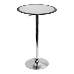 """LumiSource - Ribbon Bar Table in Black - Looking for an updated bar table? The polished chrome base and pole finishes off the look of elegance. Features: -Table. -Finish: Silver. -Material: ABS plastic. -Polished chrome base and pole. -With a fancy black rim accent. -Adjustable height hydraulics. Specifications: -Table adjusts: 26"""" - 41"""". -Dimensions: 41"""" H x 25.5"""" W x 25.5"""" D."""