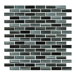 Rocky Point Tile - 10 Square Feet - Starry Night Hand Painted Glass Mosaic Subway Tile - Re-create the milky way in your kitchen or bathroom with hand painted glass mosaic subway tiles that glow in black and blueish gray.  You'll love having your very own starry collage to admire while you're taking a relaxing evening bath or whipping up a family feast in the kitchen.