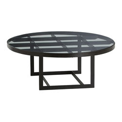 Arteriors - Halen Cocktail Table - Intersecting flat black iron bands form a grid pattern beneath the round glass top of the Halen Cocktail Table. The rectangular base and banded edging complete this geometric piece.