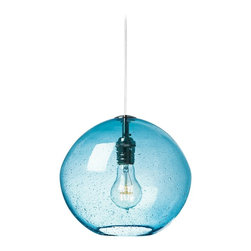 """LBL Lighting - LBL Isla Aqua Nickel 9 3/4"""" Wide Pendant Light - The Isla contemporary pendant light features hand-blown art glass in an irregular round shape. It's crafted using an organic seeded technique for extra visual flair. This model has a transparent aqua glass and satin nickel finish. From LBL Lighting. Satin nickel finish. Transparent aqua organic seeded glass. Includes one 60 watt E26 base bulb. 9 3/4"""" wide. 8 3/4"""" high. Includes 6 feet field-cuttable cord. Canopy is 4 1/2"""" wide and 1/2"""" high.  Satin nickel finish.   Transparent aqua organic seeded glass.   Includes one 60 watt E26 base bulb.   9 3/4"""" wide.   8 3/4"""" high.   Includes 6 feet field-cuttable cord.  Canopy is 4 1/2"""" wide and 1/2"""" high."""