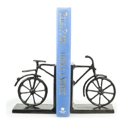 Danya B - Bicycle Iron Bookend Set - Bookends keep books in place, but this bicycle bookend set adds a decorative accent to a room and lets you share your love of biking with friends and family. Hand crafted in iron with tarnish-proof bronze finish with gold patina, one of the bookends has the front half of the bike while the other has the back.