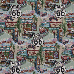 Route 66 Motels Diners Gas Pumps Theme Tapestry Upholstery Fabric By The Yard - P1110 is an upholstery grade tapestry novelty fabric. This fabric is excellent for cabins, lodges, homes and commercial uses.