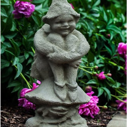 Campania International - Campania International Newport Garden Elf Cast Stone Garden Statue - S-475-AL - Shop for Statues and Sculptures from Hayneedle.com! Accent walkways and flower beds with the classically designed Campania International Newport Garden Elf Cast Stone Garden Statue. The cast stone construction of this statue is frost-resistant and is available in a variety of finish options. The smiling elf sits dutifully on a mushroom watching over your garden space.Campania Cast Stone: The ProcessThe creation of Campania's cast stone pieces begins and ends by hand. From the creation of an original design making of a mold pouring the cast stone application of the patina to the final packing of an order the process is both technical and artistic. As many as 30 pairs of hands are involved in the creation of each Campania piece in a labor intensive 15 step process.The process begins either with the creation of an original copyrighted design by Campania's artisans or an antique original. Antique originals will often require some restoration work which is also done in-house by expert craftsmen. Campania's mold making department will then begin a multi-step process to create a production mold which will properly replicate the detail and texture of the original piece. Depending on its size and complexity a mold can take as long as three months to complete. Campania creates in excess of 700 molds per year.After a mold is completed it is moved to the production area where a team individually hand pours the liquid cast stone mixture into the mold and employs special techniques to remove air bubbles. Campania carefully monitors the PSI of every piece. PSI (pounds per square inch) measures the strength of every piece to ensure durability. The PSI of Campania pieces is currently engineered at approximately 7500 for optimum strength. Each piece is air-dried and then de-molded by hand. After an internal quality check pieces are sent to a finishing department where seams are gr