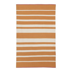 Gradated Stripe Cotton Dhurrie, Tangerine - The orange in this rug is softer and more subdued than some. If bright orange is a bit too modern for you, this hue will do the trick.