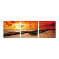Elementem - Sunset on the Beach Wall Art | Elementem - Design by Elementem Photography. Sunset on the Beach is a sunset on the beach in Corsica, France. The unedited colors of the the red and yellow sky along with the beach and waves make Sunset on the Beach a popular addition to the home.  Sunset on the Beach is digitally printed on vinyl then mounted onto solid wooden MDF frames and covered with a thin layer of laminate that allows the print to be easily cleaned with Windex and water. All the wall hanging materials needed for installation are provided. Suitable for contract projects. Available in three size formats.Elementem Photography is a proud member of 1 Percent for the Planet, a group of businesses that have committed to donating 1 percent of their sales towards environmental causes.