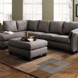 Klaussner Furniture – Drew Sectional Sofa in Charcoal Microsuede with Left Facin - Set includes Left Facing Chaise and Right Facing Sofa