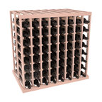 Double Deep Tasting Table Wine Rack Kit in Redwood with White Wash Stain + Satin - The quintessential wine cellar island; this wooden wine rack is a perfect way to create discrete wine storage in open floor space. With an emphasis on customization, install LEDs or add a culinary grade Butcher's Block top to create intimate wine tasting settings. We build this rack to our industry leading standards and your satisfaction is guaranteed.
