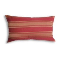5 Surry Lane - Red Gold Stripe Pillow - You'll like the way this long red-and-gold striped accent pillow adds pizzazz to any sofa or love seat it adorns. It's got a hidden zip closure and a down-feather insert for added comfort.