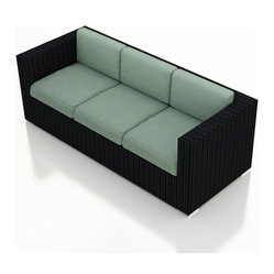 Harmonia Living - Urbana Modern Wicker Sofa, Spa Cushions - Take the party outdoors with this clean-lined wicker sofa. It's made of high-density polyethylene that's been treated for long-lasting, fade-resistant color. The seat and back cushions are covered in fade- and mildew-resistant Sunbrella fabric in a solid hue that offers the perfect canvas for your patterned throw pillows.