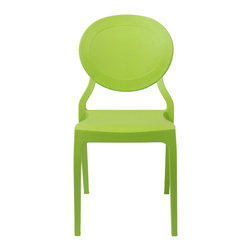 Eurostyle - Eurostyle Vasska Side Chair in Green - Set of 2 - Popular colors and a classic shape make Vasska a favorite. It's also indoor/outdoor and stackable. From the design POV, the seat back has a molded-in panel and trim which gives the chair extra visual detail and added comfort. What's included: Side Chair (can only be purchased in sets of 2).