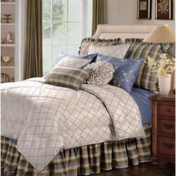 Jennifer Taylor Veranda Comforter/Duvet Set - Freshen the look of your master bedroom with the Jennifer Taylor Veranda Comforter/Duvet Set. A handsome tartan plaid, pretty floral pattern, and smart lattice work design make this set a perfect blend of masculine and feminine. Its shades of blue, cream, and browns round out the look for a modern look. This bedding collection is available in several size options, each with a variety of coordinating pillow shams finished with corresponding patterns, refined trim, and flirty ruffles.Additional Details10-piece set: 1 comforter/duvet: 110 x 96 inches1 bed skirt: 78 x 80 inches (18-inch depth)3 Euro shams: 26 x 26 inches2 kings shams: 21 x 37 inches3 décor pillows9-piece set: 1 comforter: 93 x 96 inches1 bed skirt: 60 x 80 inches (18-inch depth)2 Euro shams: 26 x 26 inches2 standard shams: 20 x 27 inches3 décor shams4-piece set: 1 comforter: 104 x 96 inches1 bed skirt: 60 x 80 inches (18-inch depth)2 king shams: 21 x 37 inchesAbout ACG Green Group, Inc.ACG Green Group is a home furnishing company based in Irvine, California and is a proud industry partner with the American Society of Interior Designers. ACG Green features Jennifer Taylor and Sandy Wilson, their exclusive home décor lines. These two complete collections offer designer home furniture, bedding sets, dining linens, curtains, pillows, and more in classic silhouettes, original designs, and rich colors to complement your home and life.