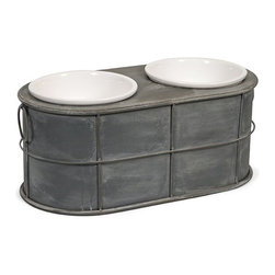 "IMAX - Casoria Pet Feeder with Ceramic Bowls - Even Rover deserves a modern treat! Featuring an industrial metal style, the Casoria raised ceramic dog food bowls add a stylish look to any area. Item Dimensions: (22.5""h x 11""w x 9"")"