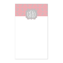 Swirl Designs - Pink Greek Key Monogram Notepad - Never lose your grocery list again with this sweetly designed and personalized notepad.   5.5'' W x 8.5'' H Paper / 53 pages Made in the USA