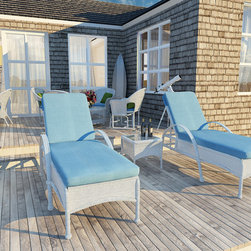 3 Piece Rockport Outdoor Lounge Set - Nothing beats enjoying a beautiful day from the comfort of your own patio, especially when you enjoy it with the classic look of the 3 Piece Rockport Lounge Set by Forever Patio (FP-ROC-3LS). The set seats 2 adults and includes 2 chaise lounges and a chat table with a glass top. The round Chestnut wicker strands in this set gives it warm, traditional look designed to last. Every strand of this wicker is made from High-Density Polyethylene (HDPE) and is infused with its rich color and UV-inhibitors that prevent cracking, chipping and fading ordinarily caused by sunlight. The set is supported by thick-gauged, powder-coated aluminum frames that make it extremely durable and resistant to corrosion. Also included are cushions covered in fade- and mildew-resistant Sunbrella® fabric, available in a wide selection of colors.