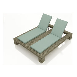 Forever Patio - Hampton Double Adjustable Chaise Lounge, Heather Wicker and Spa Cushions - The Forever Patio Hampton Outdoor Rattan Double Adjustable Chaise Lounge with Turquoise Sunbrella cushions (SKU FP-HAM-DACL-HT-SP) blends comfort, style and function, creating a perfect relaxation spot for two. The UV-protected, heather wicker sports a flat woven design, creating a contemporary look with clean lines. Each strand of this outdoor wicker is made from High-Density Polyethylene (HDPE) and is infused with its rich color and UV-inhibitors that prevent cracking, chipping and fading ordinarily caused by sunlight. This outdoor chaise is supported by thick-gauged, powder-coated aluminum frames that make it more durable than natural rattan. This lounger includes fade- and mildew-resistant Sunbrella cushions for added comfort in your outdoor space.
