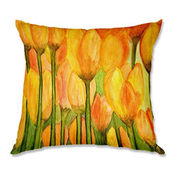 DiaNoche Designs - Pillow Woven Poplin - Dora Ficher Tulips - Toss this decorative pillow on any bed, sofa or chair, and add personality to your chic and stylish decor. Lay your head against your new art and relax! Made of woven Poly-Poplin.  Includes a cushy supportive pillow insert, zipped inside. Dye Sublimation printing adheres the ink to the material for long life and durability. Double Sided Print, Machine Washable, Product may vary slightly from image.