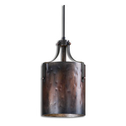 Uttermost - Akron Copper Mini Pendant - This light is 16 inches of amazing attention to detail and it belongs wherever you put it. The little copper studs that punctuate the black strap metal strips are in marked contrast to the warm light emanating from the pendant.