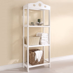 """Acme Furniture - Sarila 3-Tier Shelf Rack in White - Sarila 3-Tier Shelf Rack in White; Finish: White; Materials: Solid Pine Wood; Weight: 24.2 lbs; Dimensions: 25"""" x 14"""" x 67""""H"""