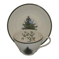Cuthbertson - Cuthbertson Christmas Tree (Narrow Green Band  Cream) Flat Cup & Saucer Set - Cuthbertson Christmas Tree (Narrow Green Band  Cream) Flat Cup & Saucer Set