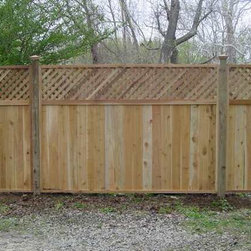 Lattice Tongue & Grove Red Cedar - This fence stands at 6' and comes with tongue and grove cedar boards. Built with red cedar, this fence is perfect for maintaining privacy.