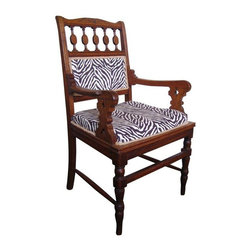 Victorian Eastlake Zebra Chair - Timeless eclectic chic! A newly upholstered Victorian Eastlake chair in refined brown zebra upholstery. Mix it up with industrial, modern, boho or shabby. Seat:18̢���_ h