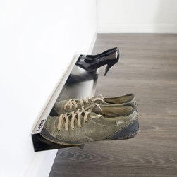 j-me Original Design - The Horizontal Shoe Rack offers a modern, stylish & convenient way of storing shoes. The Horizontal Shoe Rack gives the appearance that shoes are floating off of the floor! If storing all your shoes is becoming a problem, this stainless steel horizontal shoe rack is the perfect solution. It comes in two (2) sizes: 28 inches and 48 inches and holds four (4) or seven (7) pairs of shoes respectively.
