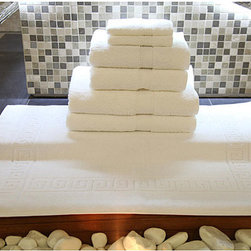None - Authentic Hotel & Spa Turkish Cotton 7-piece Towel Set with Bath Mat - Turn your bathroom into your own personal spa with a set of luxurious 100-percent cotton Turkish towels. Actually made in Turkey, these towels are pure white with a herringbone pattern. All the towels have a terry cloth design and are heavy duty.