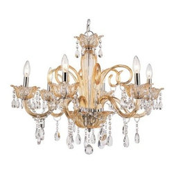 Trans Globe HG-6 CHMP Chandelier - Champagne - 27.5W in. - The perfect choice for anyone who appreciates classic elegance and refined charm, the Transglobe HG-6 CHMP Chandelier - Champagne - 27.5W in. will be the highlight of any room you put it in. Delicately placed crystals hang from champagne-toned glass branches, while matching candle sleeves accommodate six candelabra base 40-watt bulbs to cast a cozy glow in your foyer or formal dining area. A charming blend of form and function, this 27.5-inch chandelier is just what you need to give your home a makeover.About Trans Globe Lighting, Inc.Born from the hopes and dreams of two entrepeneurial spirits in 1986, Trans Globe Lighting offers one of the most comprehensive and stylish collections of residential lighting in the world. This family-owned company based in North Hollywood, Calif., is marked by personal involvement, with a wide variety of products available at the lowest prices. From traditional to ultra-contemporary in style, Trans Globe has just the right light for you.