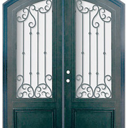 "Valencia 72x96 Arch Top Forged Iron Double Door 3/4 Lite Steel - ""SKU#    PHBFV34ATDR4Brand    GlassCraftDoor Type    ExteriorManufacturer Collection    Buffalo Forge Steel DoorsDoor Model    ValenciaDoor Material    SteelWoodgrain    Veneer    Price    9200Door Size Options      $Core Type    one-piece roll-formed 14 gauge steel doors are foam filled  Door Style    Arch TopDoor Lite Style    Arch Lite , 3/4 LiteDoor Panel Style    Home Style Matching    Mediterranean , Victorian , Bay and Gable , Plantation , Cape Cod , Gulf Coast , ColonialDoor Construction    Prehanging Options    PrehungPrehung Configuration    Double DoorDoor Thickness (Inches)    1.5Glass Thickness (Inches)    Glass Type    Double GlazedGlass Caming    Glass Features    Insulated , TemperedGlass Style    Glass Texture    Clear , Glue Chip , RainGlass Obscurity    Door Features    Door Approvals    Wind-load RatedDoor Finishes    Three coat painting process"