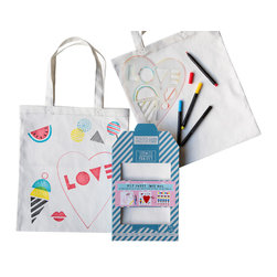 Yellow Owl Workshop - SweetHeart Tote Stencil Kit - The Sweet Tote Stencil Kit is the perfect project for anyone with a love of sweets. Kits contain everything you need to make your own custom tote bag with drawing stencils!