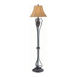 Lite Source - Floor Lamp - Dark Bronze/Beige Jacquard Fabric Shade, A 150W - Floor Lamp - Dark Bronze/Beige Jacquard Fabric Shade, A 150W