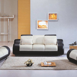 4088 Contemporary Black and White Living Room Sofa Set - Front leather amd back leather match
