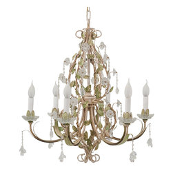 LogicSun/Montalto - Ruspoli - This gorgeous transitional chandelier is alive with texture and becomes an instant welcoming centerpiece of any room. Hand-made forged iron, finished and hand- painted by Florentine artists and embellished with original Swarowski crystals. Hand-Made In Italy. Hand-painted.