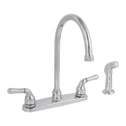 "Premier - Sanibel Lead-Free Two-Handle Kitchen Faucet - Chrome - Twin Lever Handle Gooseneck Spout Kitchen Faucet Chrome Plated Finish With Spray 1/2"" IPS Connection."