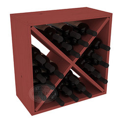 """Wine Racks America - 24 Bottle Wine Storage Cube in Ponderosa Pine, Cherry Stain - A wine rack focused on flexibility; buy 1 or buy 100. Perfect for stacking, filling small spaces, and converting that """"underneath"""" space into wine storage. Mix and match finishes to illustrate your true wine-lover's spirit or contrast colors for a modern wine rack twist."""