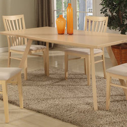 "Chintaly Imports - Carmen 5 PC Dining set - MDF, Beech Veneer, and Solid Beech. Slat Back Side Chair. Comfortable Seat. CA Fire Retardant Foam. Fully Assembled.; Includes Dining table and 4 pcs Side chair; Rectangular Dining Table; Solid Beech Side Chair; Dimensions: Table Top: 29.53""H x 62.99""W x 35.43""D; Chair: 36.61""H x 17.32""W x 17.83""D"