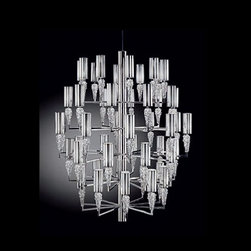 """Axo - Axo Subzero 50 chandelier - The Subzero 50 chandelier has been designed by Manuel Vivian for AXO light. The Subzero series features a collection of lamps made of Bohemian crystals along with a chrome finish. This chandelier in an artistic statement as well as a bold producer of light.  Product Details:  The Subzero 50 chandelier has been designed by Manuel Vivian for AXO light. The Subzero series features a collection of lamps made of Bohemian crystals along with a chrome finish. This chandelier in an artistic statement as well as a bold producer of light. Details:                         Manufacturer:             AXO Light                            Designer:                        Manuel Vivian                                         Made in:            Italy                            Dimensions:                         Height: max- 98"""" (250 cm) X Width: 49.6"""" (126 cm)                                          Light bulb:                         50 X 40W E 14 Incandescent + 1 X 50W GU10                                         Material:             metal, Bohemia crystals,"""
