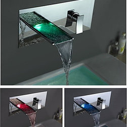 Bathroom Sink Faucets - Color Changing LED Waterfall Bathroom Faucet (Wall Mount)--faucetsmall.com