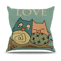 """KESS InHouse - Carina Povarchik """"Lechuzas Love"""" Owls Green Throw Pillow, Outdoor, 26""""x26"""" - Decorate your backyard, patio or even take it on a picnic with the Kess Inhouse outdoor throw pillow! Complete your backyard by adding unique artwork, patterns, illustrations and colors! Be the envy of your neighbors and friends with this long lasting outdoor artistic and innovative pillow. These pillows are printed on both sides for added pizzazz!"""