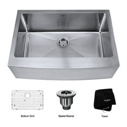 Kraus - Kraus 30 inch Farmhouse Apron Single Bowl 16 gauge Stainless Steel Kitchen Sink - *Add an elegant touch to your kitchen with a unique and versatile farmhouse apron sink from Kraus
