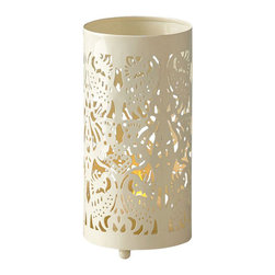 Fair Trade - Peacock Design Metal Cut Out Candleholder Lantern Lighting Indoor Outdoor - Metal indoor or outdoor candle lantern in an intricate peacock pattern accented in an off white color.