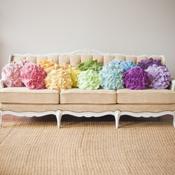 "Custom Color Ruffle Rose Pillow, Small by That Funky Boutique - How about transforming your sofa into a plushy place to relax? Build your ""indoor garden"" with pillows."