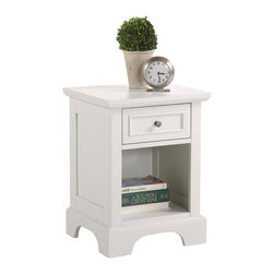 Home Styles - Home Styles Naples 1 Drawer Nightstand in White Finish - Home Styles - Nightstands - 553042 - The Naples Nightstand has solid hardwood and engineered wood construction in a rich multi-step white finish. It features one drawer and a lower open storage compartment for keep all your bed time necessities within arms reach. With contemporary design elements the Naples Nightstand is a great addition along side your bed.The Naples Collection by Home Styles Furniture offers simple yet functional pieces for your home. It features a classic white finish that can blend in with any decor and bracket bases for that added contemporary charm. The Home Styles Furniture Naples Collection appears to be simple in design but it is in the details that give it an exquisite appeal.Features: