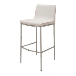 Nuevo Living - Colter White Leather Counter Stool by Nuevo - HGAR294 - The Colter modern stool in white leather adds modern elegance to any space. This contemporary counter stool can make its home at your kitchen counter, a counter height table, or anywhere else stylish seating is needed. Available in your choice of leather color complemented by a high polish steel frame, this piece will definitely complement any home decor. Your guests and other visitors are sure to be impressed with the sleek, modern style of this chic bar stool. With its contemporary design and modern style, the Colter modern stool will surely be an enchanting home addition for years to come.  Available in dark grey, ochre, mink, white, and black leather