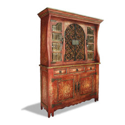 Koenig Collection - Old World Spanish Hutch Pamplona, Red And Cream, With Scrolls - Old World Spanish Hutch Pamplona, Red and Cream, with Scrolls